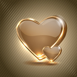 Glossy And Shining Hearts On Line Background. Eps10 Vector Illustartion.