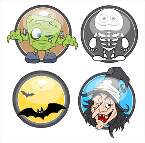 Glossy Badges For Halloween