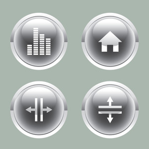 Glossy Buttons For Multimedia Interface.
