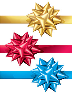 Glossy Colored Ribbon Bows. Vector.