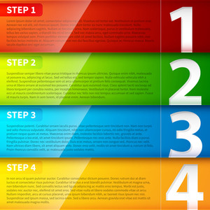 Glossy Colorful Banners With Numbers From 1 To 4.