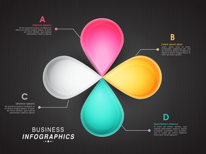 Glossy colorful infographic elements on grey background for Business purpose.