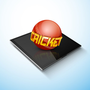 Glossy Cricket Ball On A Tablet On Blue Background.