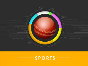 Glossy Cricket  Ball With Statstics On Grey And Yellow Ball