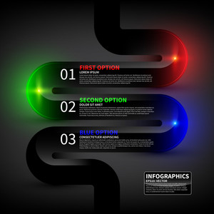 Glossy Design Layout With Three Options. Useful For Presentations Or Web Design.