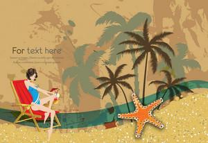 Glossy Girl On Vintage Summer Background Vector Illustration