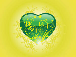 Glossy Green Heart With Floral