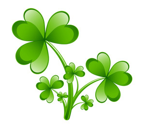 Glossy Green Shamrock Leaves