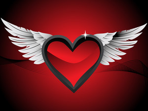 Glossy Hearts With Wings