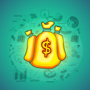Glossy illustration of money bag with dollar sign on various business infographic elements background.