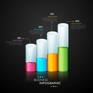Glossy infographic bars showing growth for Business reports and financial data presentation.