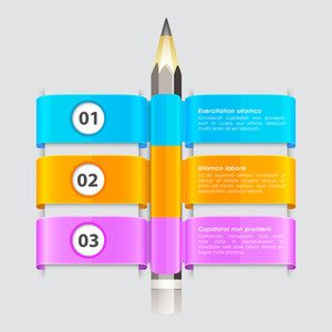 Glossy infographic papers with pencil on grey background for Business presentation.
