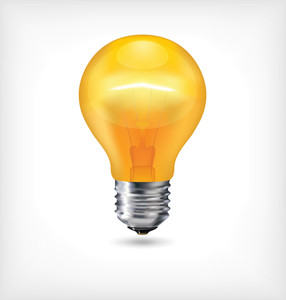 Glossy Light Bulb - Yellow Incandescent Realistic Light