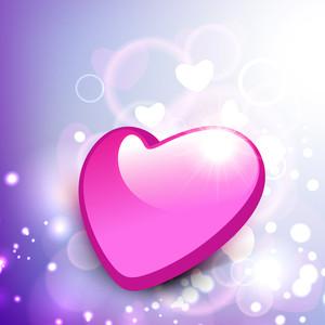 Glossy Pink Valentine Heart On Shiny Background.
