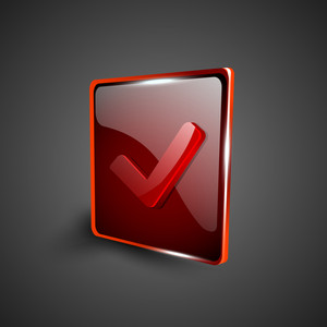 Glossy Red 3d Web 2.0 Check Mark Validation Symbol Icon Set.