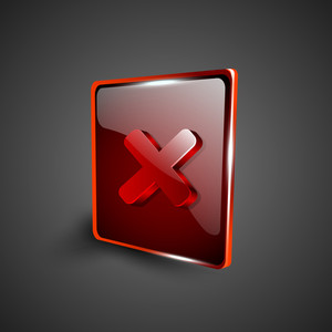 Glossy Red 3d Web 2.0 Cross Mark Validation Symbol Icon Set.
