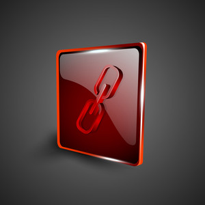 Glossy Red 3d Web 2.0 Link Or Connect Symbol Icon Set.