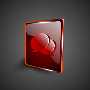 Glossy Red 3d Web 2.0 Messenger Symbol Icon Set.