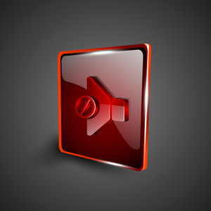 Glossy Red 3d Web 2.0 Mute Symbol Icon Set.