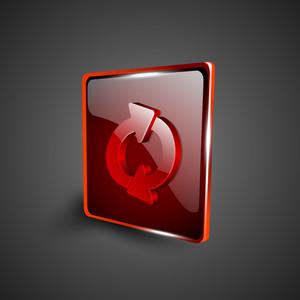 Glossy Red 3d Web 2.0 Refresh Symbol Icon Set.