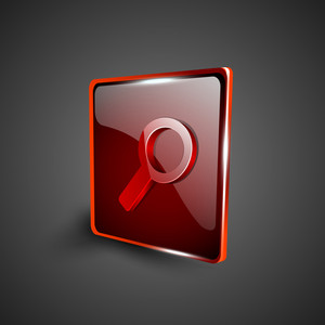 Glossy Red 3d Web 2.0 Search Symbol Icon Set.