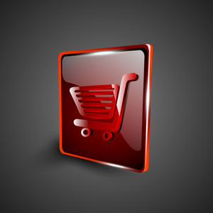 Glossy Red 3d Web 2.0 Shopping Cart Symbol Icon Set.
