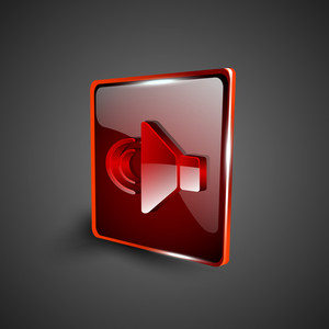 Glossy Red 3d Web 2.0 Sound Symbol Icon Set.