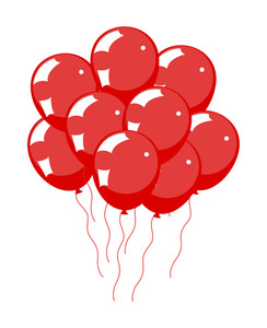 Glossy Red Balloons Bunch