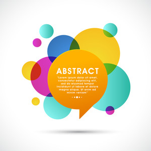 Glossy speech bubble with space for your message on colorful abstract background.