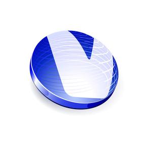 Glossy Spheres Abc. Letter V. Vector.
