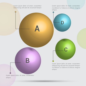 Glossy spheres Infographics for your business presentation on grey bacground.