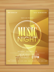 Glossy stylish Music Night Party celebration flyer banner or template on wooden background.