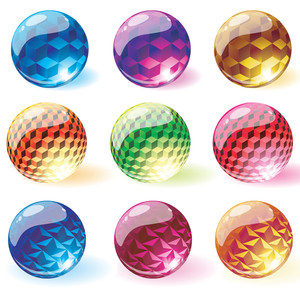 Glossy Transparent Spheres. Vector.
