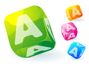 Glossy Transparent Vector Abc Cubes.