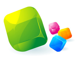 Glossy Transparent Vector Cubes.