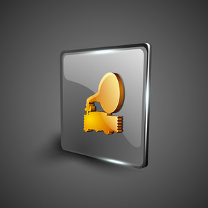 Glossy Web 2.0 Music Icon With Gramophone Symbol.