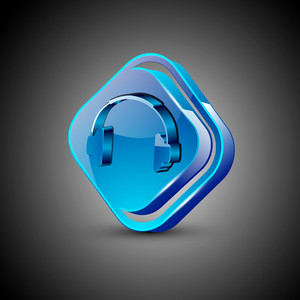 Glossy Web 2.0 Music Icon With Headset Symbol.