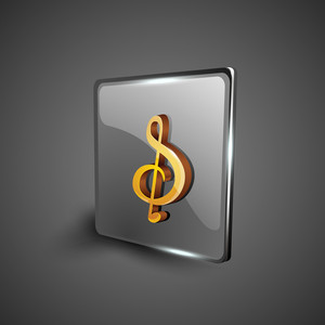 Glossy Web 2.0 Music Icon With Musical Note.