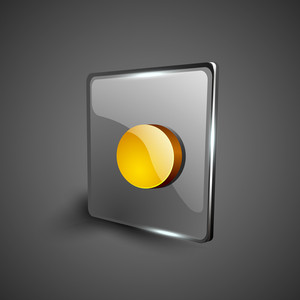 Glossy Web 2.0 Music Icon With Record Button.