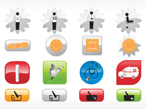 Glossy Web 2.0 Style Medical Icon Series 3 Set 2