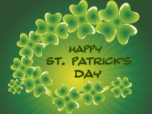 Glow Shamrock Background For 17 March