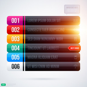 Glowing Menu With Six Black Options. Eps10