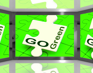 Go Green On Screen Showing Protecting The Planet