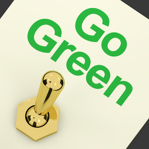 Go Green Switch Showing Recycling And Eco Friendly
