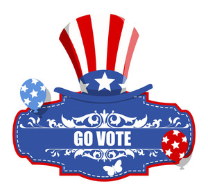 Go Vote Usa Voting Badge Vector