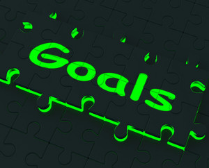 Goals Puzzle Showing Aspirations And Objectives