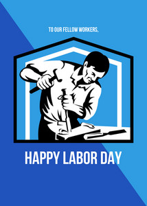 God Bless Our Workers Happy Labor Day Retro Poster