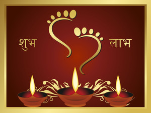 God Feet Background With Diya