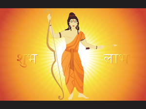 God Rama Stand With Rays Background