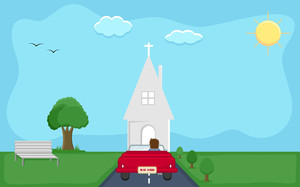 Going To Church - Cartoon Background Vector